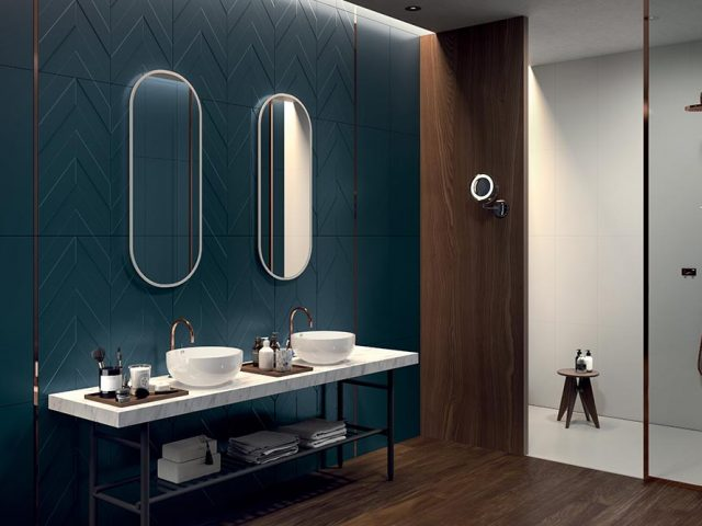 Multidimensional 3D Textured Ceramic Wall Tiles - Blue Chevron Installation