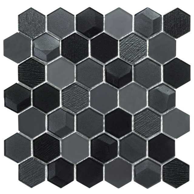 Outlast Hexagon Black Glass Mosaic Tile