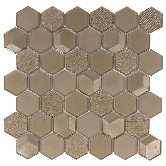 Outlast Hexagon Bronze Matrix Glass Mosaic Tile