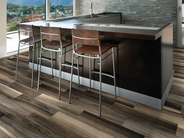 Dimensional 6x24 Tobacco Wood Look Porcelain Tile Installation