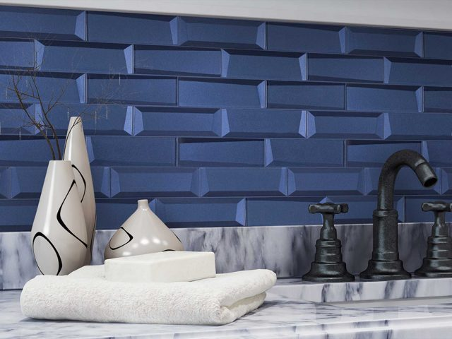 Outlast Glass Wall Tiles - Blue Installation