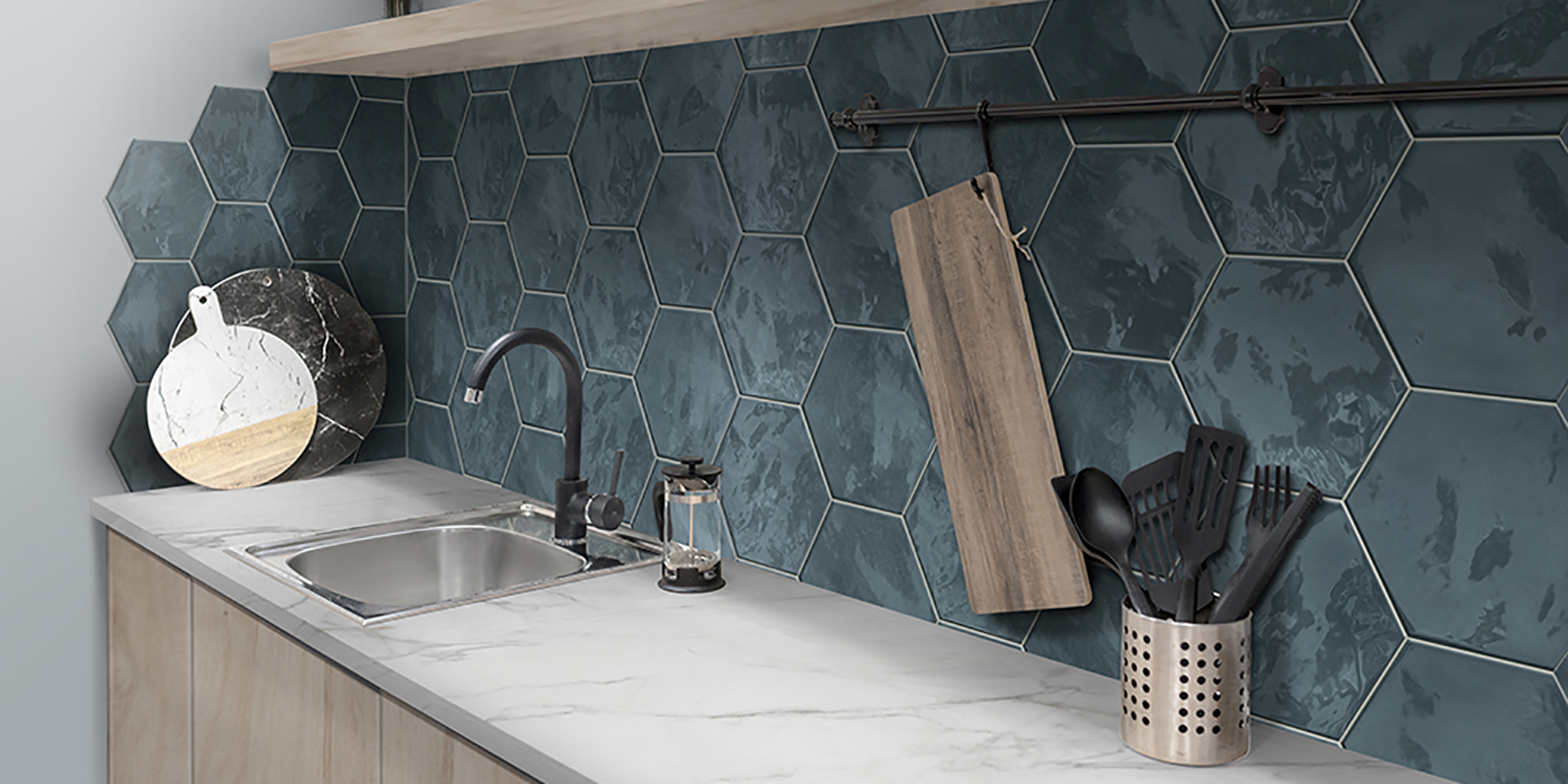 Wall tile: Placid Blue Glossy 7x6 Hexagon