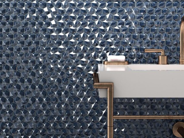 Hive Glass Tile Collection - Diamond Installation
