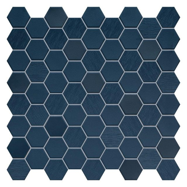 Placid Blue Mix Hex Mosaic Tile