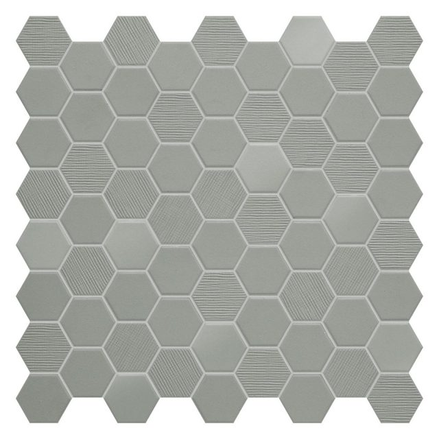 Placid Grey Mix Hex Mosaic Tile