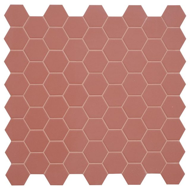 Placid Red Hex Mosaic Porcelain Tile