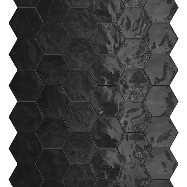 Placid Black Hex Mosaic Wall Tile