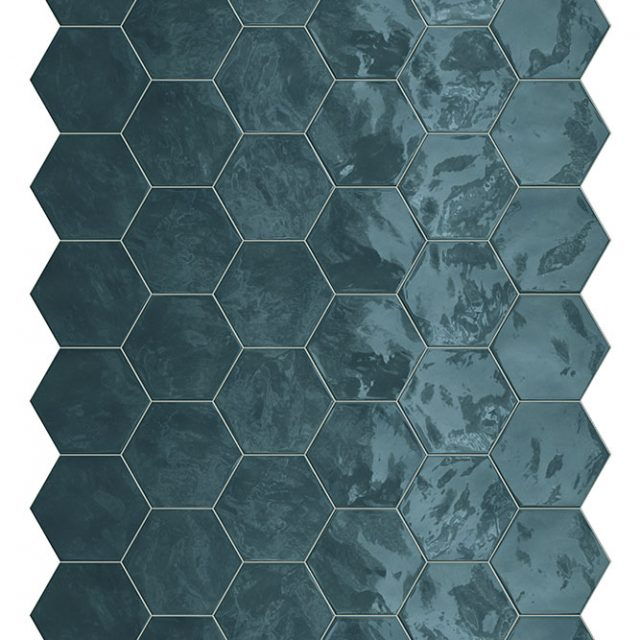 Placid Blue Hex Mosaic Wall Tile