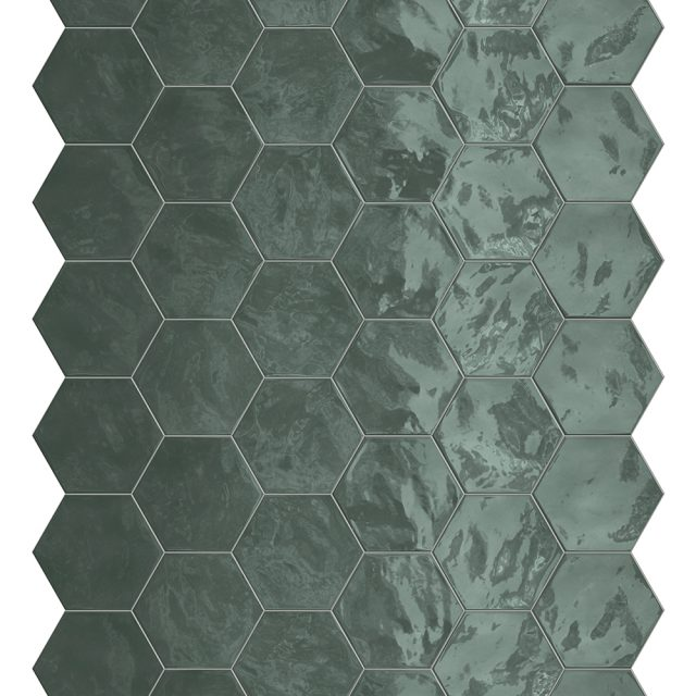 Placid Green Hex Mosaic Wall Tile